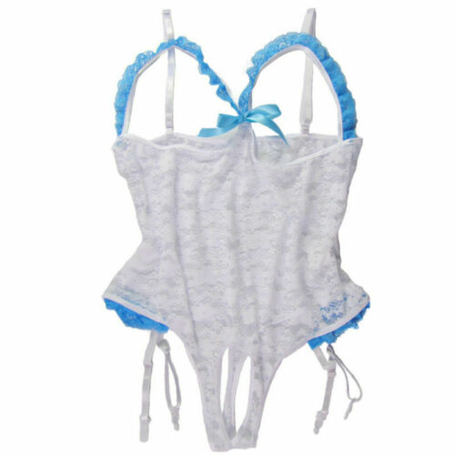 Sexy-Lingerie Womens Lace Cupless Teddy Babydoll Open Crotchles Sleepwear White