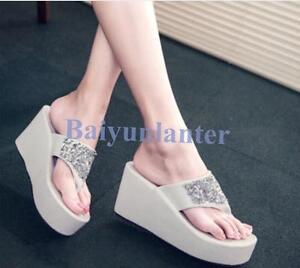 Slipper-Wedge-High-Platform-Rhinestones-Summer-Fashion-Womens-Flip-Flops-Sandals