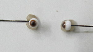 Yeux sur tige en fer poupée ancienne Marron  4 mm Brown eyes for antique doll