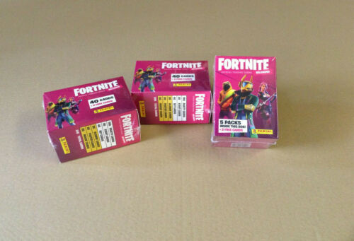 2 CARDS PANINI FORTNITE RELOADED BLASTER BOX CONTAINS 5 PACKETS TRADING CARDS