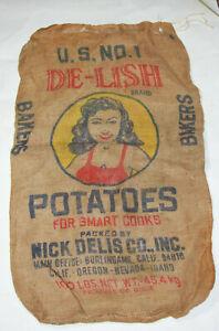Vintage-Potato-Burlap-Gunny-Sacks-Bag-DE-LISH-Potatoes-100lbs-Pin-Up-Girl-Deco