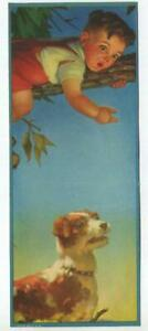 VINTAGE JACK RUSSELL TERRIER DOG PROTECTING BOY CHILD CLIMBING TREE  LITHO PRINT