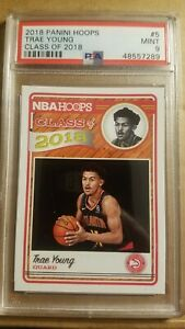 2018-19-Panini-NBA-Hoops-Class-of-2018-Trae-Young-Rookie-RC-5-PSA-9-MINT-RARE