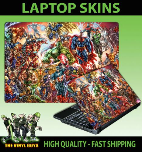 MARVEL DC Action Hero scena SUPEREROI Laptop Adesivo SKIN varie dimensioni Decalcomania