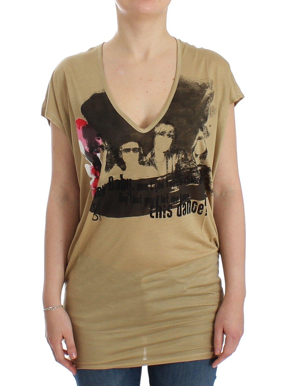 NWT C'N'c COSTUME NATIONAL Beige Motive Print T-shirt Top Tunic s. s
