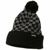 Gray & Black Pom Pom Ski Checker Winter Skull Warm Cuffed Long Knit Beanie Hat