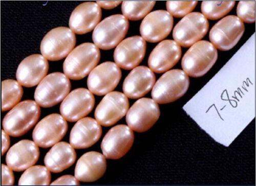 """New 7-8mm Freshwater Light pink Pearl loose Beads 14""""inch"""