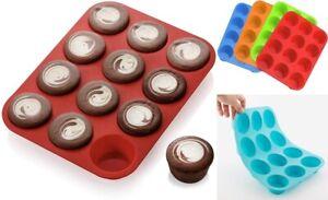 12er Muffin Form Silikon Back Förmchen Kuchen Cupcake Set Mini Flexibel Antihaft