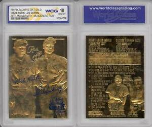 BABE-RUTH-amp-LOU-GEHRIG-Murderer-039-s-Row-23KT-Gold-Card-Sculpted-Graded-GEM-MINT-10