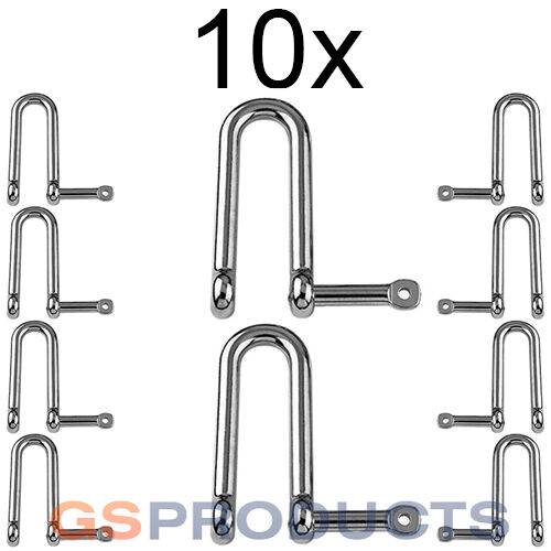 10x 4mm Stainless Steel Long D Shackle Captive Pin FREE POSTAGE PACKAGING!