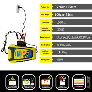 6V2A-12V2A-6A-24V3A-Chargeur-Batterie-Automatique-Intelligent-Auto-Moto-Voiture