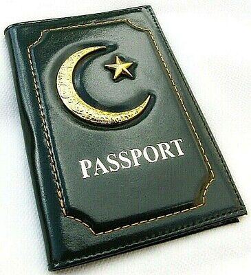 Affidabile Passaporto Islamica Vera Pelle Coperchio Supporto Con Stella Metallico E Crescent Nuovo-mostra Il Titolo Originale