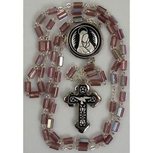 Damascene-Silver-Rosary-Cross-Virgin-Mary-Purple-Beads-by-Midas-of-Toledo-Spain