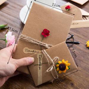 Vintage-Birthday-Wedding-DIY-Kraft-Paper-Greeting-Card-Note-Flower-Envelope-S-L