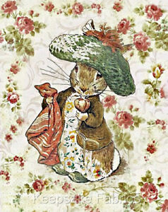 Details about Potter Rabbit Vintage Roses Quilt Block Multi Sizes FrEE ShiP  WoRld WiDE