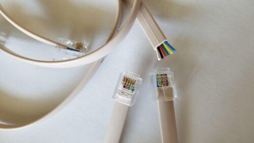 RJ25 RJ12 RJ11 cable DSL Modem Fax telephone 6 pin 6p6c white Ivory  26AWG