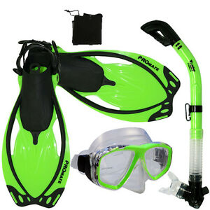 Adult-Snorkeling-Dive-Gear-Mask-Dry-Snorkel-Fins-Mesh-Bag-Package-Sets