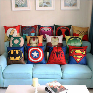 Image Is Loading Decorative Cushion Cover Superhero  Batman Throw Pillow Case