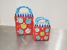 2 Ceramic Cat Shopping Bags Perfect For Business Cards Holder Pencil Cup Holder
