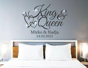 Wandtattoo King & Queen Wandtattoo Schlafzimmer namen Wandtattoo ...