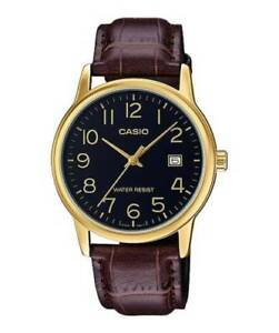 Casio-MTP-V002GL-1B-Men-039-s-Analog-Watch-BROWN-Leather-Band-Date-EASY-READER