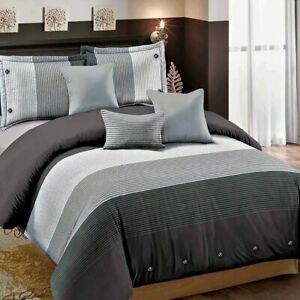 3 Piece Ultra Soft Down Quilt Cover Bedding Cover Sets,Striped Black Gray, Queen