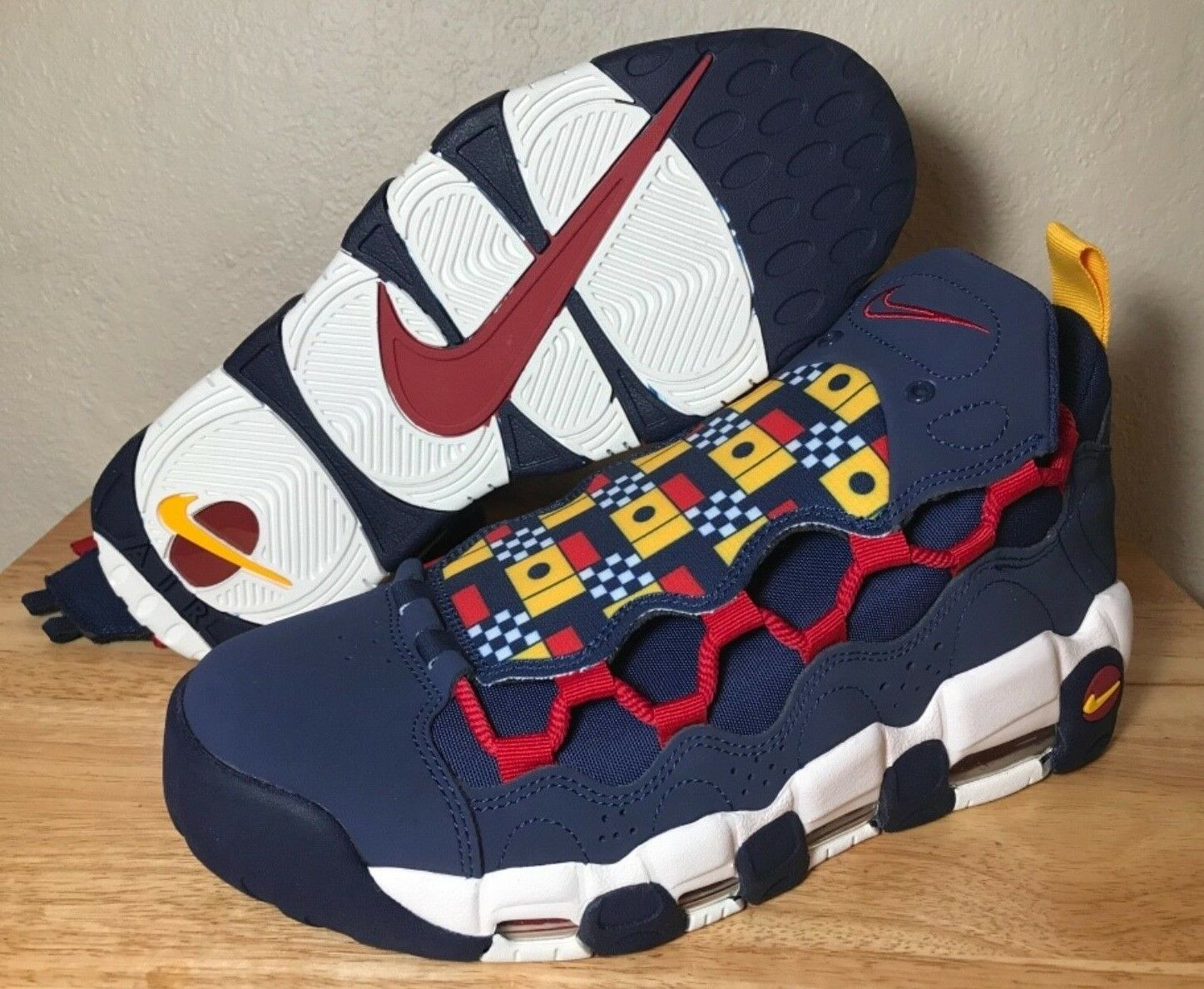 Nike Air More Money Nautical Pack SZ Midnight Navy Red White Mens New AR5396-400