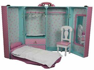 excellent pink bedroom set furniture   Queen's Treasures PINK BEDROOM TRUNK & FURNITURE Bed Desk ...
