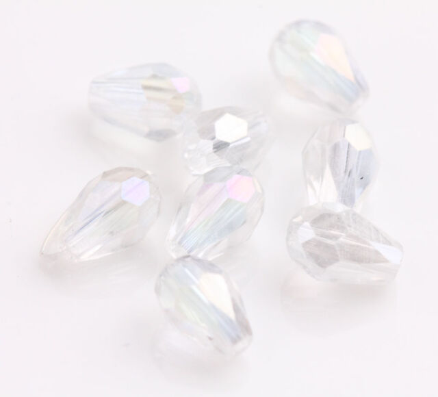 10-100 Glass Crystal Charms Findings Teardrop Spacer Loose Beads 6x8/5X3/12x8mm