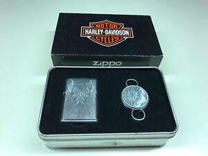 Harley Davidson Hd109 Zippo Lighter W Key Chain Gift Set In Original