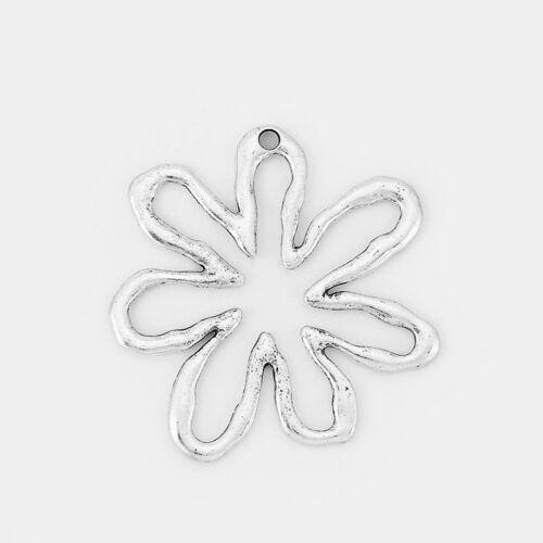 2x Tibetan Silver Open Spiral Flower Charms Pendants Jewellery Necklace Making