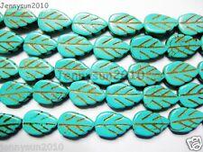 Blue Howlite Turquoise Gemstone Side Ways Lovely Leaf Loose Beads 16'' Strand