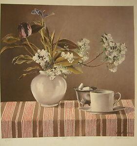 Lithography-034-La-Tablecloth-Striped-034-Signed-M-Tuformeau-Num-7-100-Still