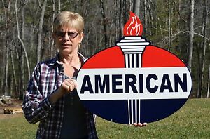 OLD-STYLE-2-SIDED-AMERICAN-MOTOR-OIL-GAS-WITH-TORCH-STEEL-SIGN-USA-MADE-SUPER
