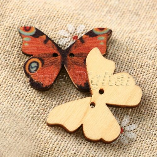 50pcs Mixed Butterfly Wooden Sewing Buttons 2 Holes DIY Scrapbooking Craft Decor