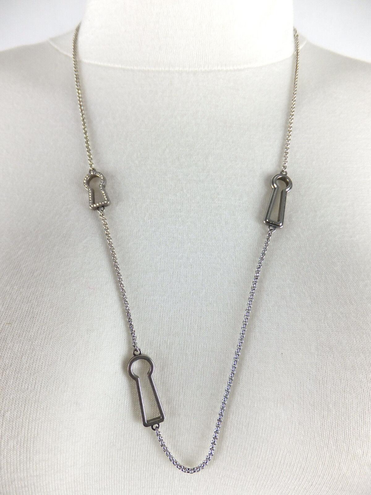FOSSIL Halskette '3 Schlösser'  silverfarben Glitzersteine neu m. Geschenkbox