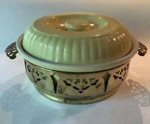 Vintage Hall China Co Large Covered Casserole Yellow for Forman Family w/Carrier