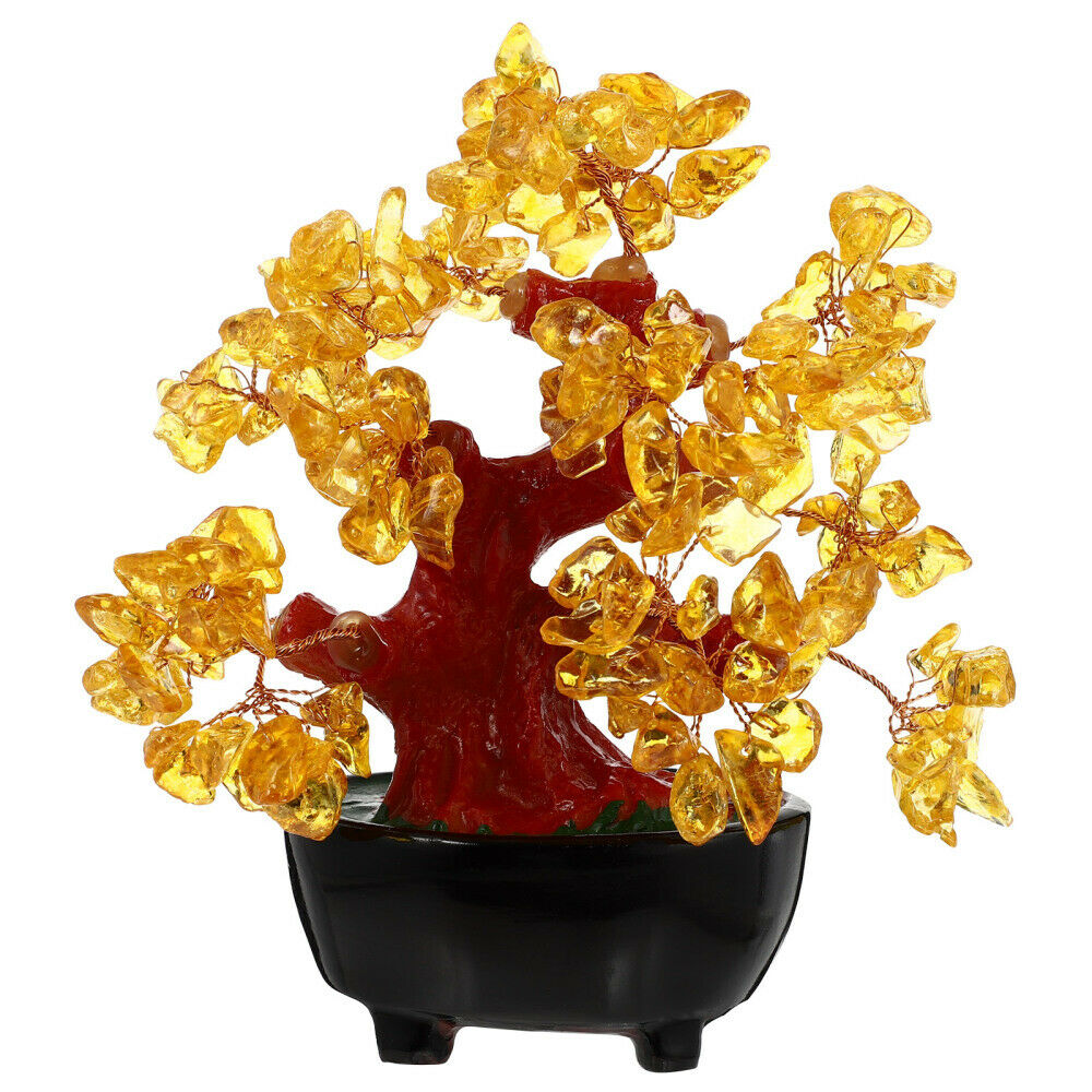 1PC Household Money Tree Adornment Chic Yellow Crystal Money Tree for Home Room