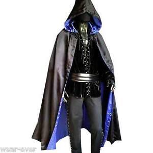 WENDE-CAPE-Umhang-schwarz-blau-Satin-5041-gothic-kostuem-steampunk-halloween-neu