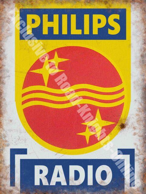 Philips Radio, 146 Electronics Retro Vintage Advertising, Large Metal Tin Sign