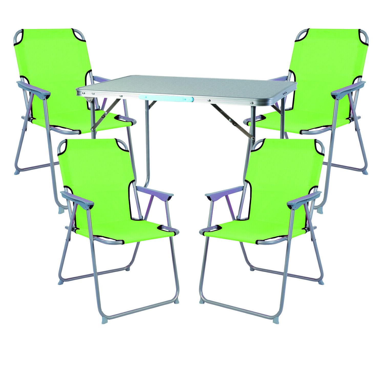 XL 5-teiliges Campingmöbel Set Alu mit Tragegriff Camping 80x60x68cm Limegrün