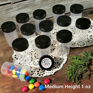 12-Pill-Style-Jars-2-034-tall-Black-Screw-Cap-1-ounce-Cannister-size-DecoJars-3812