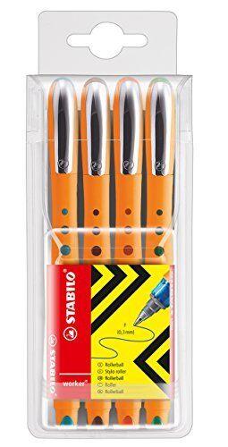 4er Pack blau STABILO worker+ Tintenroller grüne rot schwar fein