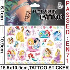 d7ccef431c2b3 Princess Ariel Aurora Temporary Tattoo Sheet Kids Birthday Party Bag Filler
