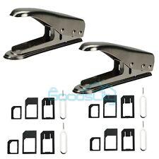 2 Universal Cutting Edge Micro Nano SIM Card Cutter for iPhone 6 5S+12 Adapters