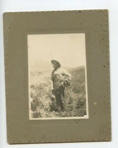 Vintage Photo 4 x 5 Farmer in his field Overalls hat Out West