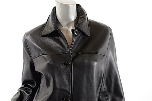 MARC NEW YORK Hip Length Black Leather Lined Jacket w/4 Button Closure Sz M
