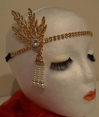 Radient 1920's Head Flapper Great Gatsby Peaky Blinders Style Gold Leaf Medallion Pearl Sentirsi A Proprio Agio