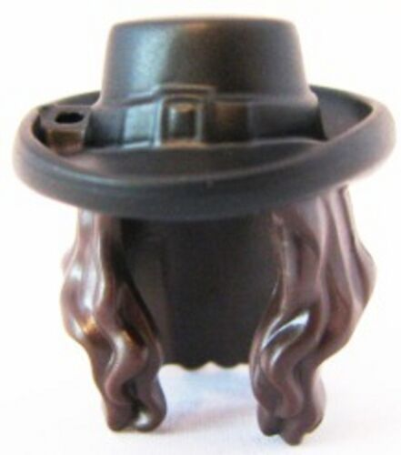 Minifig Headgear Hair Long Wavy with Black Hat w// Buckle Pattern LEGO