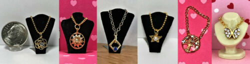 Dollhouse Miniature Jewelry Necklace-Can be 1:12 or 1:6 Scale-Gold//Silver Color